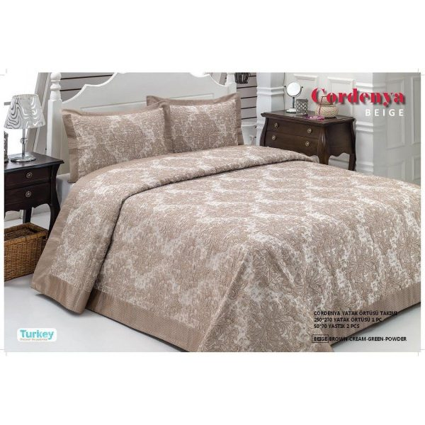 купить Атласное покрывало Hanibaba gardenia beige 250x270