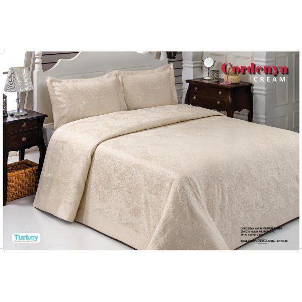 купить Атласное покрывало Hanibaba gardenia cream 250x270