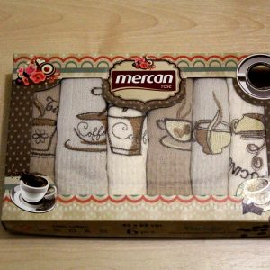 Вафельное полотенце кухонное 6шт Mercan кофе 6 45×65 (6 шт)