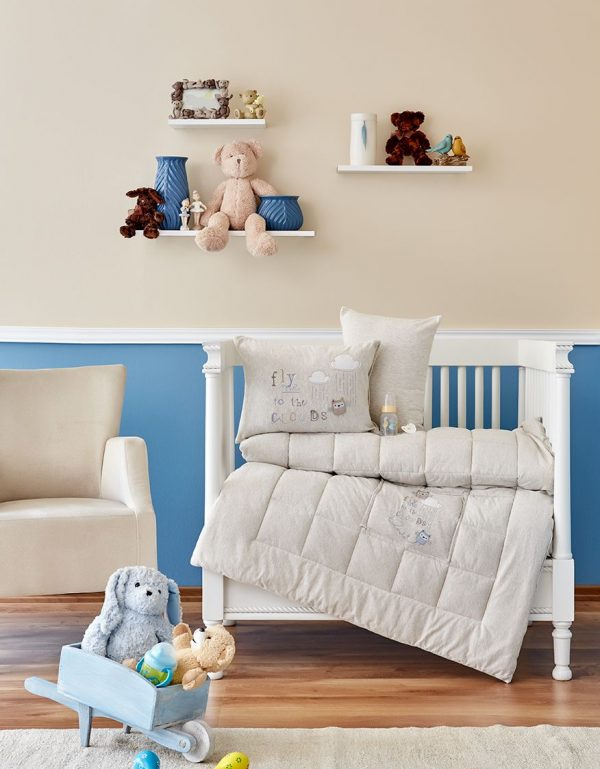 купить Детское постельное белье в кроватку для младенцев Karaca Home - Cloudy 2018-2 bej (4 предмета) 100x150