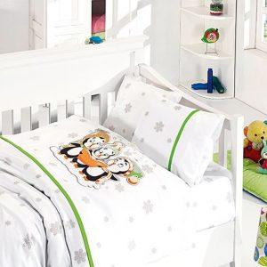 купить Детское постельное белье в кроватку First Сhoice Penguins Yesil 100x150