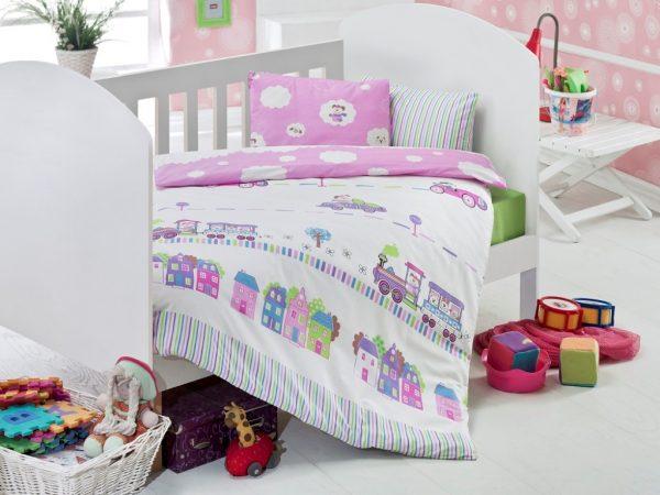 купить Детское постельное белье для младенцев Eponj Home - Tren Pembe 100x150