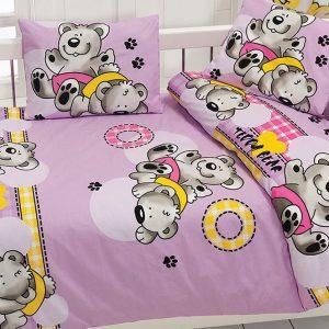 купить Детское постельное белье Class Ayicik v2 Lila 100x150