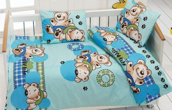 купить Детское постельное белье Class Ayicik v3 Mavi 100x150