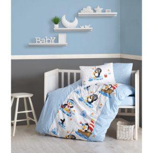 купить Детское постельное белье Cotton Box Penguen Mavi 100x150