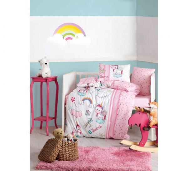 купить Детское постельное белье Cotton Box Unicorn Pembe 100x150
