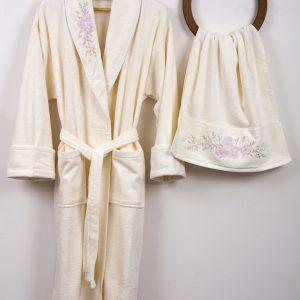 купить Женский халат с полотенцем Begonville Bouqet Cream М