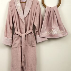 Женский халат с полотенцем Begonville Bouqet Pink М