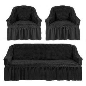 купить Комлект чехлов на диван и кресла Love you антрацит