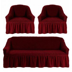 купить Комлект чехлов на диван и кресла Love you бордо