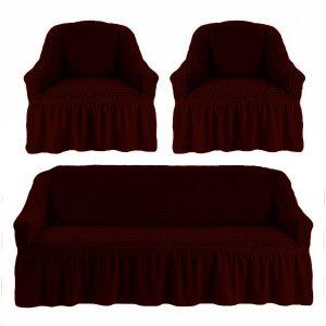 купить Комлект чехлов на диван и кресла Love you вишня