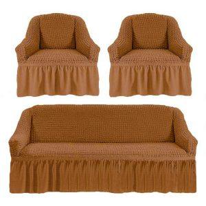 Комлект чехлов на диван и кресла Love you золото