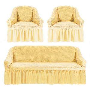 купить Комлект чехлов на диван и кресла Love you крем