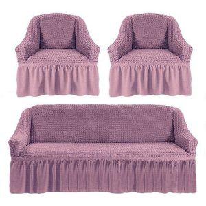 Комлект чехлов на диван и кресла Love you лиловый