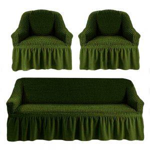 Комлект чехлов на диван и кресла Love you олива