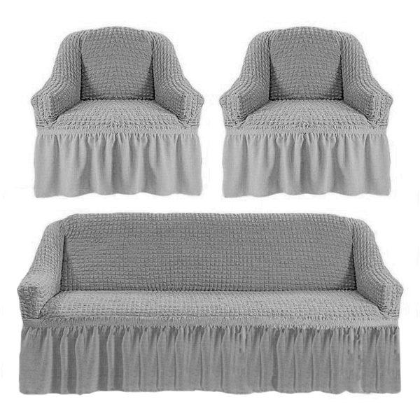 купить Комлект чехлов на диван и кресла Love you серый