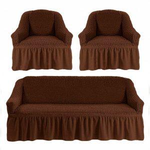 Комлект чехлов на диван и кресла Love you шоколад