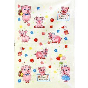 купить Кухонное полотенце Веселые поросята 40x60см розовое