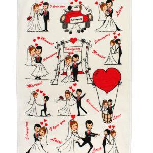 купить Кухонное полотенце Влюбленные 40x60см красное