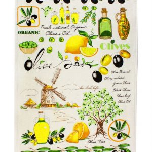купить Кухонное полотенце Оливки зеленое