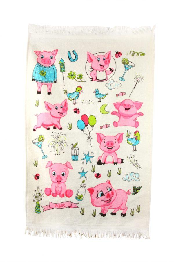 купить Кухонное полотенце Поросята 40x60см розовое