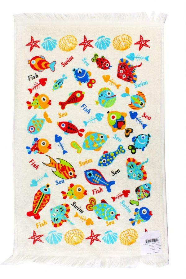 купить Кухонное полотенце Рыбки 40x60см голубое