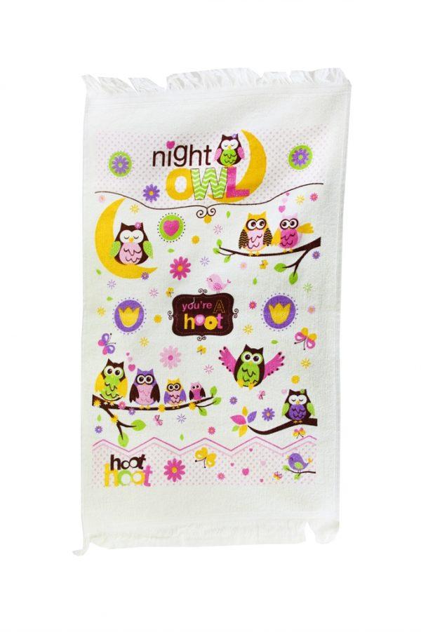 купить Кухонное полотенце Совы Ночь 40x60см сиреневое