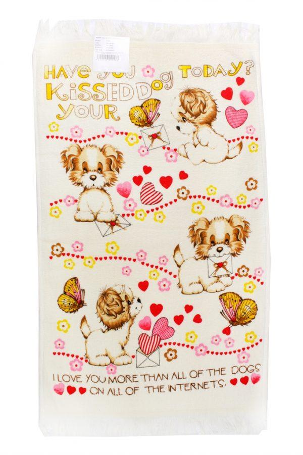 купить Кухонное полотенце Щенки 40x60см розовое