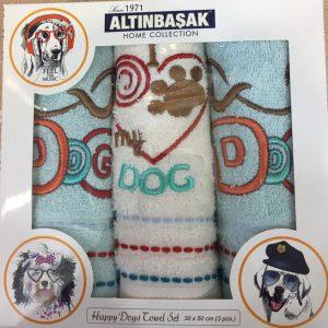 Кухонное полотенце с вышивкой 3 шт ТМ Altinbasak махра dog 30×50 (3 шт)