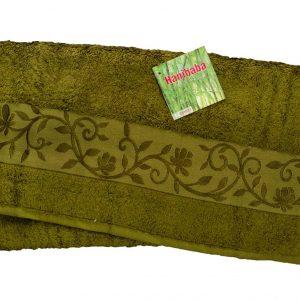 Махровое полотенце ТМ Hanibaba бамбук хаки 100×150