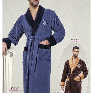 купить Мужской халат Nusa ns 1140-1 серо-синий m009145
