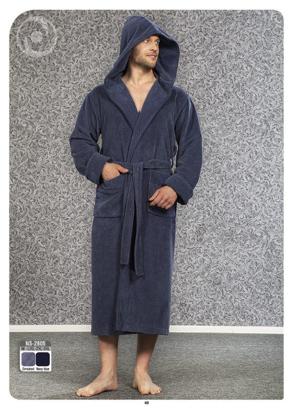 купить Мужской халат Nusa ns 2805 серый m012284