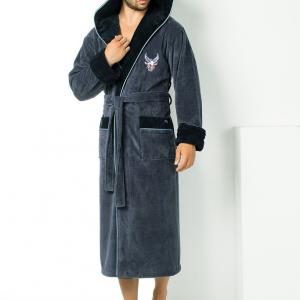 Мужской халат Nusa ns 2995 серый m014302