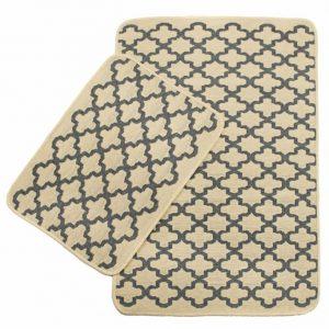 Набор ковриков в ванную Solo Krem Gri Geometri 40×60|60×90