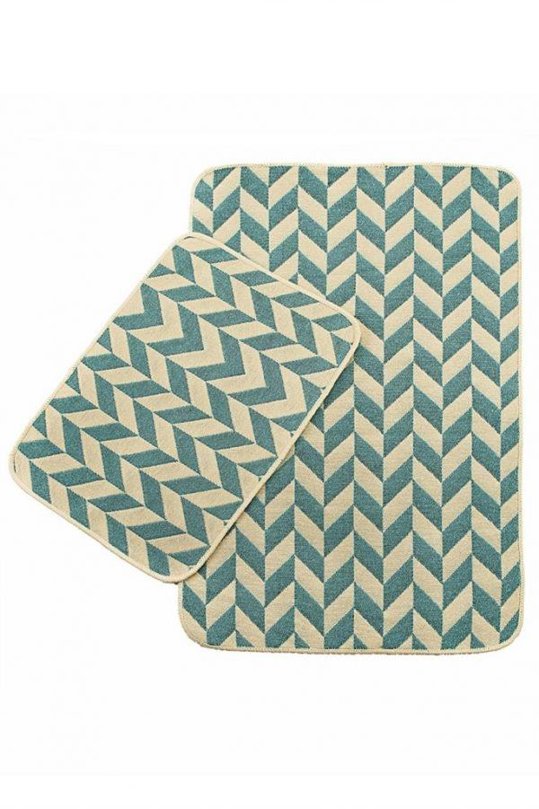 купить Набор ковриков в ванную Solo Krem Mavi Zigzag 40x60|60x90
