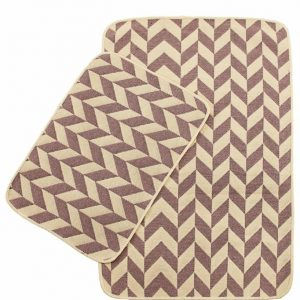Набор ковриков в ванную Solo Krem Pembe Zigzag 40×60|60×90
