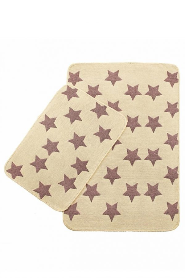 купить Набор ковриков Solo Krem Pembe Yildiz 40x60 60x90