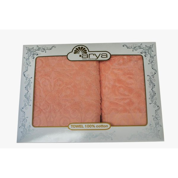 купить Набор полотенец ТМ Arya Жаккард 2 шт. Aiko розовый 50x90|70x140