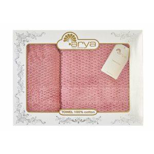 купить Набор полотенец ТМ Arya 2 шт. Arno розовый 50x90|70x140