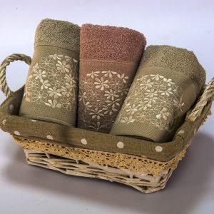купить Набор полотенец махровых Begonville - Lauren 15 gri-pembe 30x50