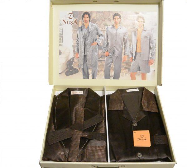купить Пижама с халатом мужская Nusa ns 9700-1 коричневый m012751