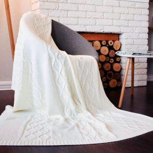 купить Плед вязанный SoundSleep Carmel молочный 140х180