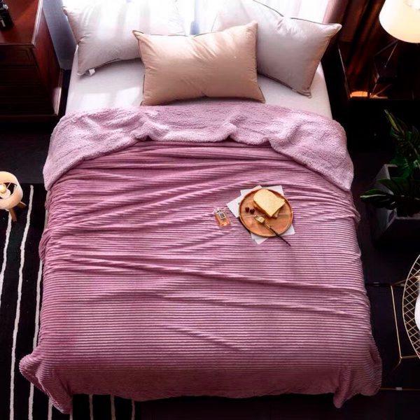 Плед меховой Love You розовый 200×220