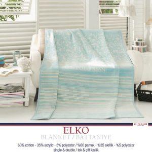 Плед хлопковый U.S.Polo Assn – Elko голубой 200×220