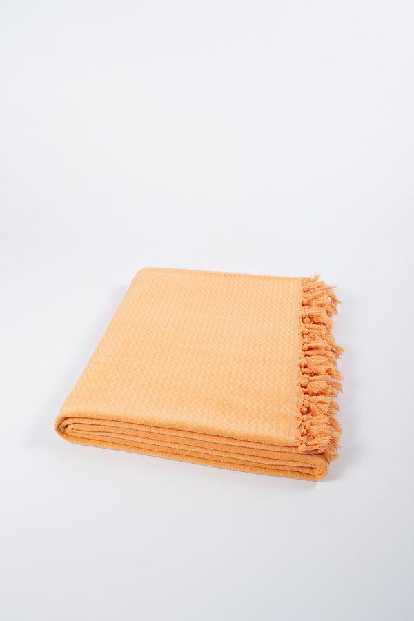 купить Плед хлопковый U.S.Polo Assn - Kalispell желто-оранжевый 160x230