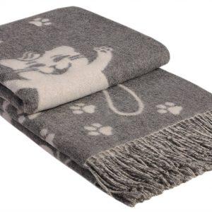 купить Плед Vladi Жаккард Cats серый 140x200