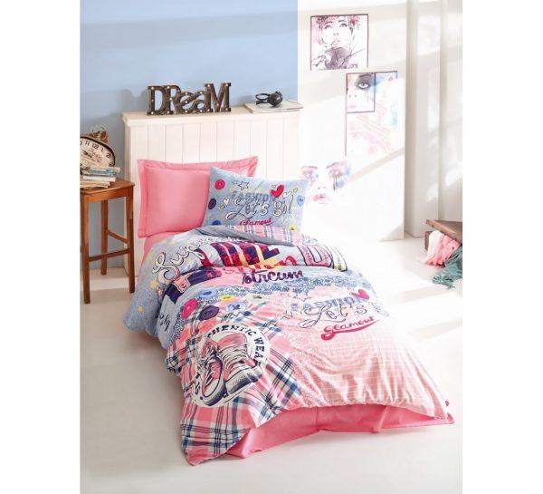 Подростковое постельное белье Cotton Box Superstar Pembe 160×220