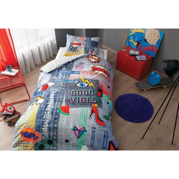 купить Подростковое постельное белье TAC Ranforce Teen - Good Vibes 160x220