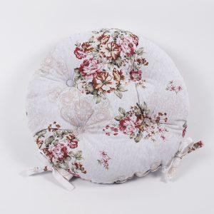 Подушка на стул Lotus круглая  Simona с завязками кофе 40 см. диаметр