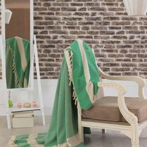 купить Покрывало хлопковое Eponj Home - Hasir A.Yesil светло зеленое 200x240